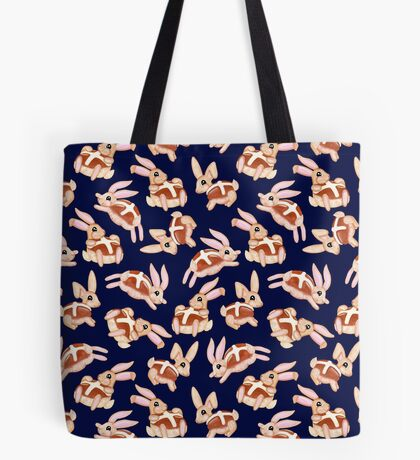 Hot Cross Bunnies - Navy Tote Bag