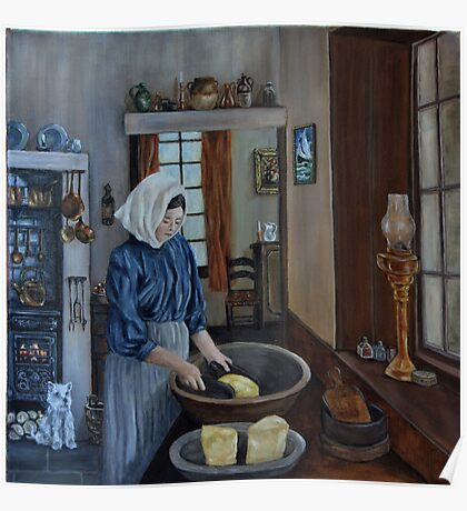 """Irish Servant Making Butter"" - Oil Painting Poster"