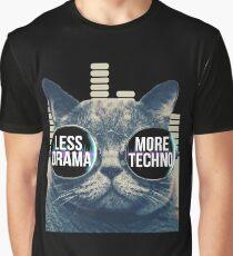 Less Drama More Techno Tshirt Techno Beats Sunglasses Cat Graphic T-Shirt