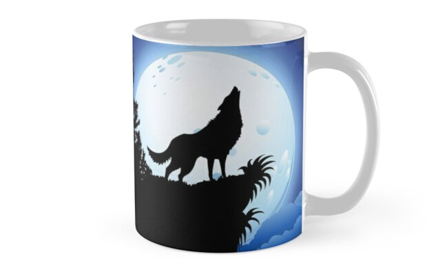 Wolf Howling at Blue Moon by BluedarkArt