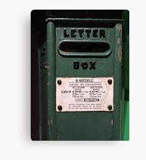 Hauteville Green Post Box Canvas Print