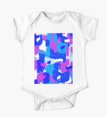 Dripping Blue Purple and White Paint One Piece - Short Sleeve