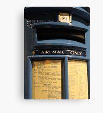 Blue! Airmail Pillar Box Canvas Print