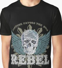 REBEL Skull Emblem - Fortune Favors The Bold Graphic T-Shirt