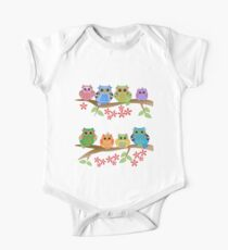 Cute colourful owls on branches Kids Clothes
