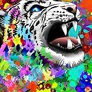 Leopard Psychedelic Paint Splats by BluedarkArt