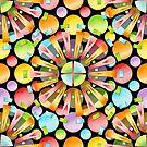 Rainbow Polka Dots Mandala - large scale by PatriciaSheaArt