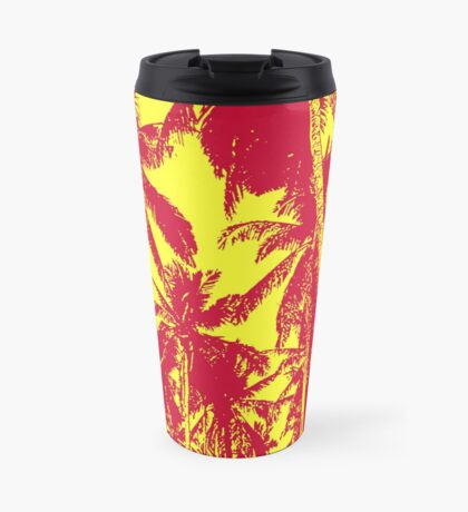 Palm Trees in a Posterised Design  This pattern is of palm trees against a clear sky, with a posterised effect.  Travel Mug