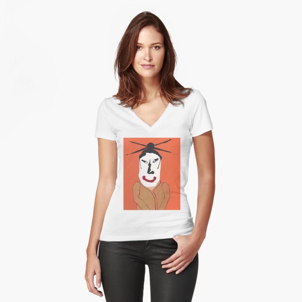 T-shirt moulant col V «Kabuki - Martin Boisvert - Face à flaques»