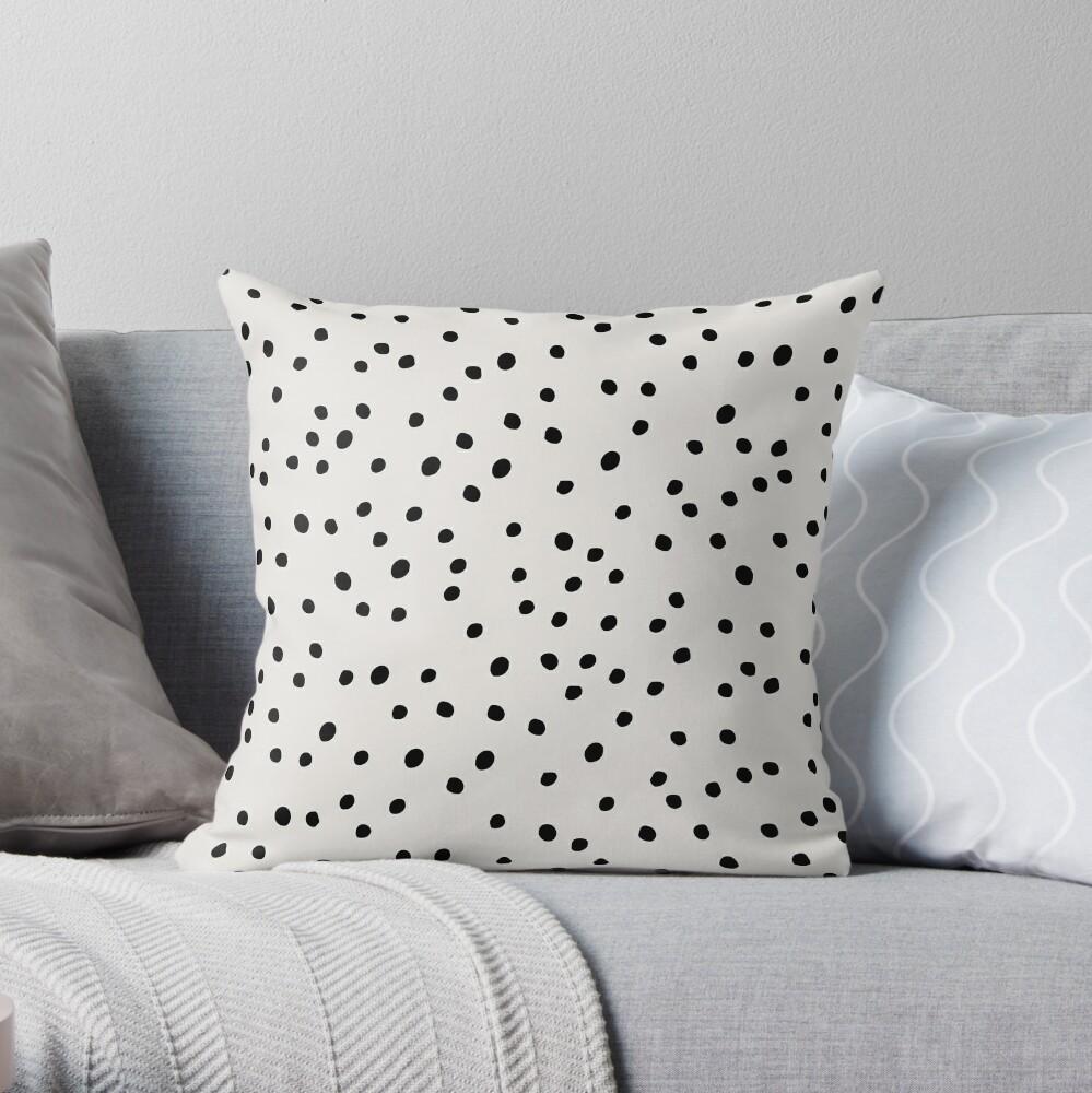 Preppy Spots, Black and White, Minimal, Polka Dot Print Throw Pillow