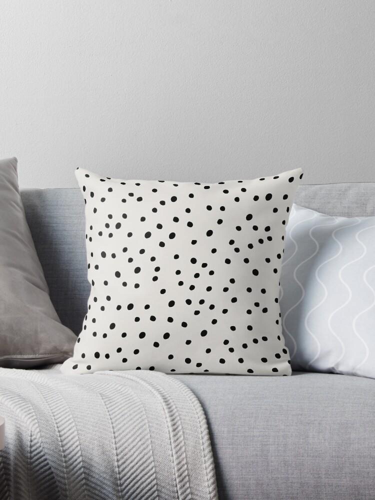 \'Preppy Spots, Black and White, Minimal, Polka Dot Print\' Throw Pillow by  KookiePixel