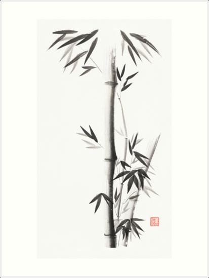 Láminas artísticas «Tallos de bambú con hojas Pintura de tinta ...