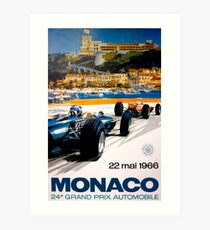 MONACO GRAND PRIX; Jahrgang 1966 Auto Racing Print Kunstdruck