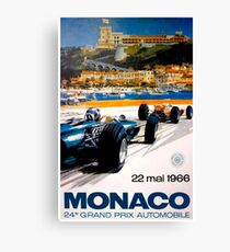 MONACO GRAND PRIX; Vintage 1966 Auto Racing Print Canvas Print