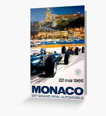 MONACO GRAND PRIX; Vintage 1966 Auto Racing Print Greeting Card
