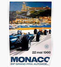 MONACO GRAND PRIX; Jahrgang 1966 Auto Racing Print Poster