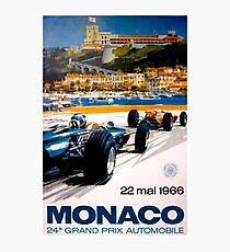 MONACO GRAND PRIX; Vintage 1966 Auto Racing Print Photographic Print