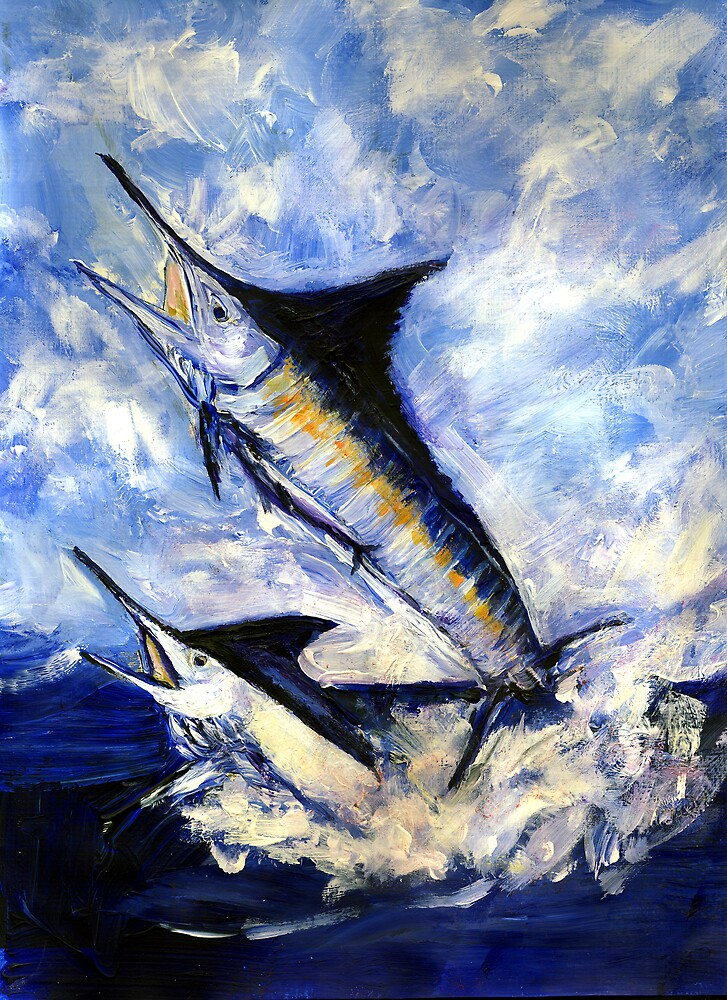 Two Marlin a Blue and a Striper by Randy Sprout