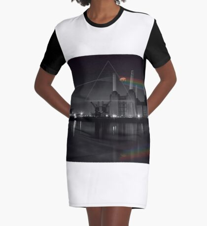 Battersea pink floyd pig and prism Graphic T-Shirt Dress