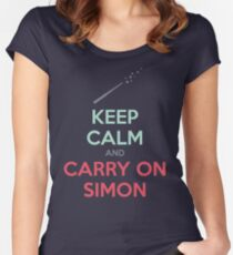 Keep Calm and Carry On Simon (Multi-Color Text) Women's Fitted Scoop T-Shirt