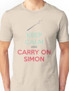 Keep Calm and Carry On Simon (Multi-Color Text) T-Shirt