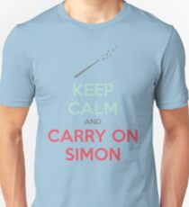 Keep Calm and Carry On Simon (Multi-Color Text) Unisex T-Shirt