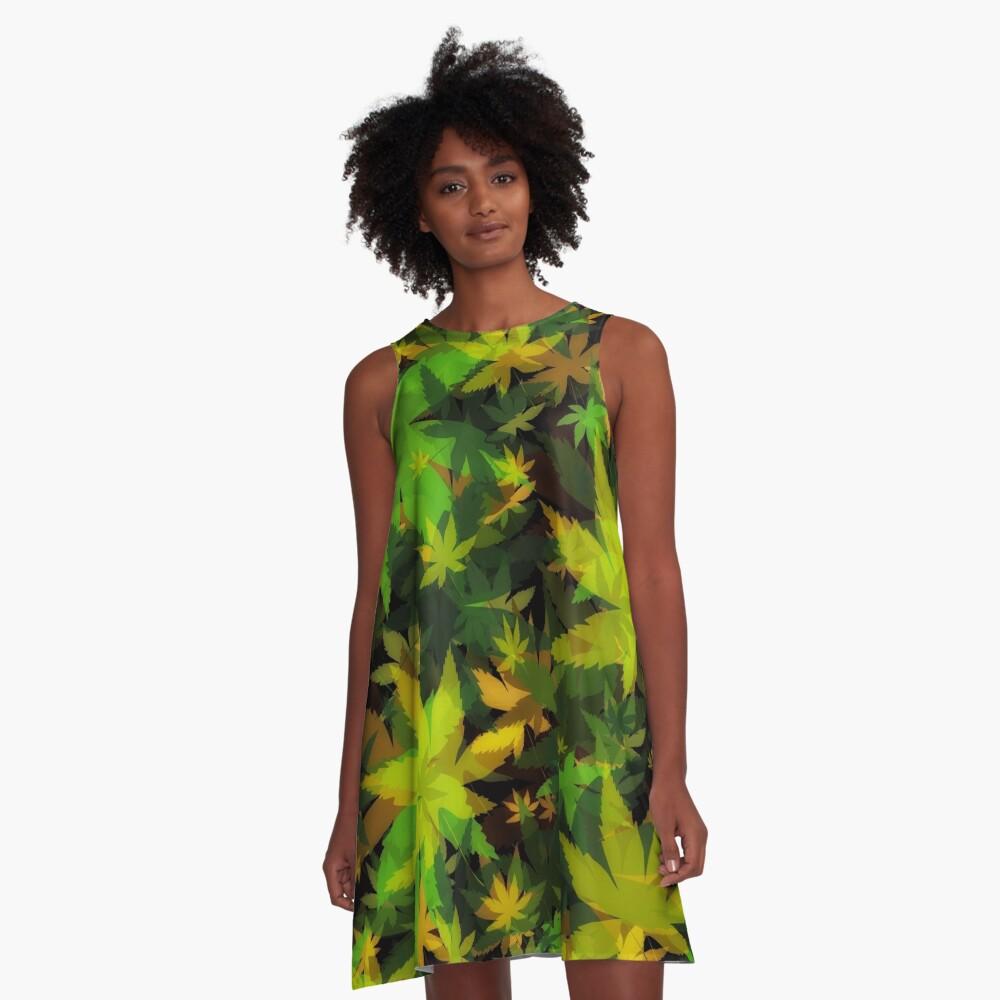 Candys Crazy Cannabis Camo  A-Line Dress Front