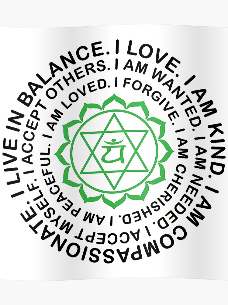 Yoga Yogi Heart Anahata Chakra Anniversaire Noël Poster