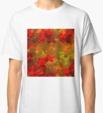 psychedelic square pixel pattern abstract background in red orange green Classic T-Shirt