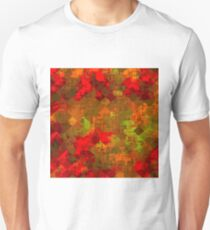 psychedelic square pixel pattern abstract background in red orange green Unisex T-Shirt