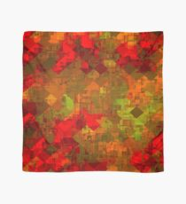 psychedelic square pixel pattern abstract background in red orange green Scarf