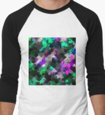 psychedelic square pixel pattern abstract background in green pink blue Men's Baseball ¾ T-Shirt