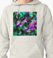 psychedelic square pixel pattern abstract background in green pink blue Pullover Hoodie