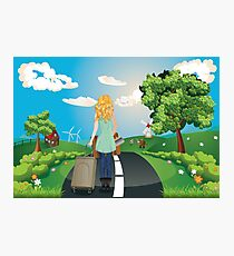 Summer Landscape with Girl Photographic Print