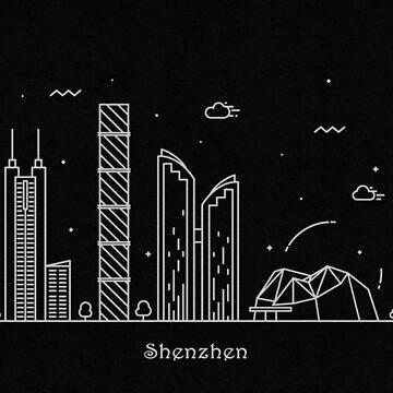 Shenzhen Skyline Minimal Line Art Poster by geekmywall