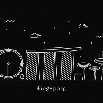 Singapore Skyline Minimal Line Art Poster by geekmywall