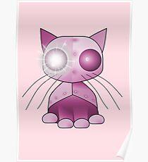 Robotkitty Robot Cat Pink Poster