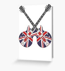British Mod Union Jack Guitars Greeting Card