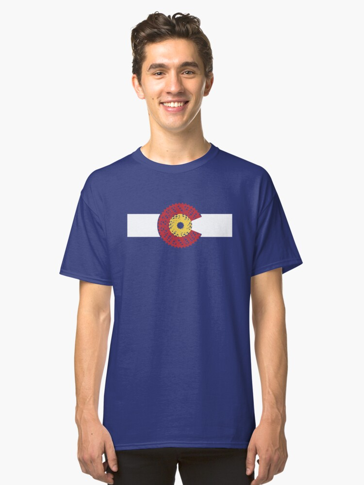 Ride Colorado (Bicycle Cassette) Classic T-Shirt Front
