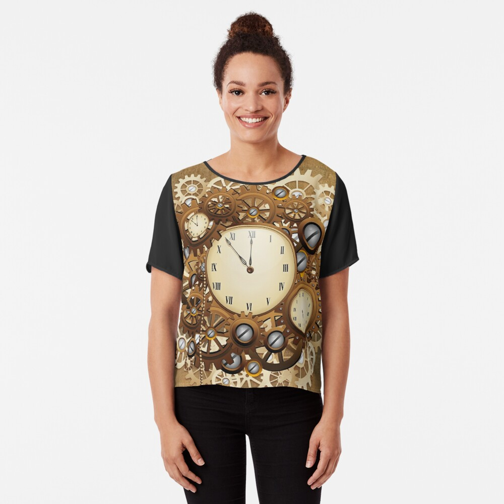 Steampunk Clocks and Gears Vintage Style  Chiffon Top