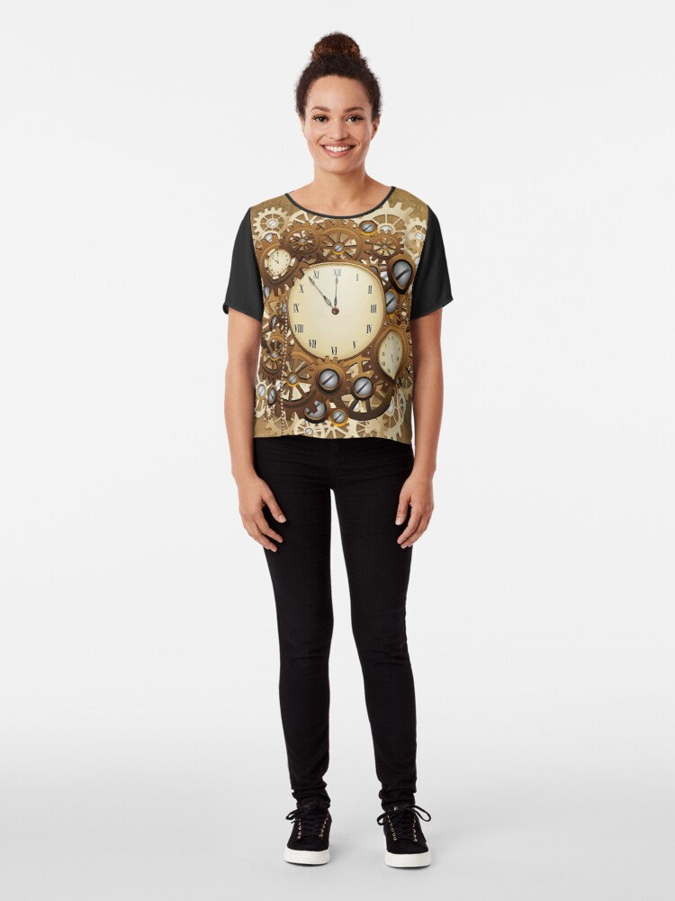 Alternate view of Steampunk Clocks and Gears Vintage Style  Chiffon Top