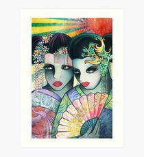 Geisha Girls Holding a Fan Art Print