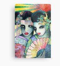Geisha Girls Holding a Fan Metal Print