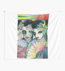 Geisha Girls Holding a Fan Wall Tapestry