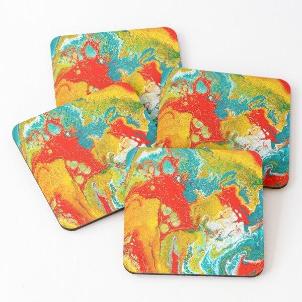 Colorful Fluid Art Coasters (Set of 4)