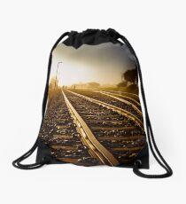 Railway Tracks at sunrise and twilight sky Drawstring Bag