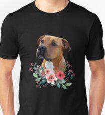 Pit bull, Pit bull with flowers, Pit bull Portrait, APBT Unisex T-Shirt