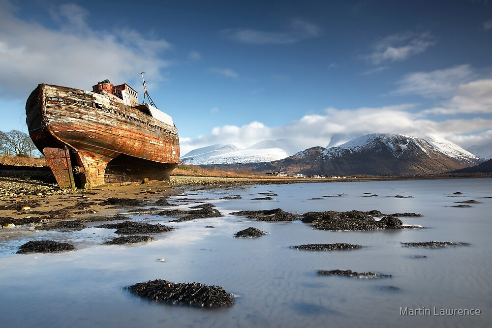 The Corpach Wreck on Loch Eil with Ben Nevis beyond Scotland by Martin Lawrence