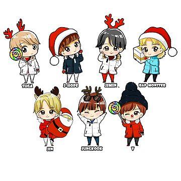 KPOP BTS CHRISTMAS CHIBI  ALL MEMBERS  by LySaVN