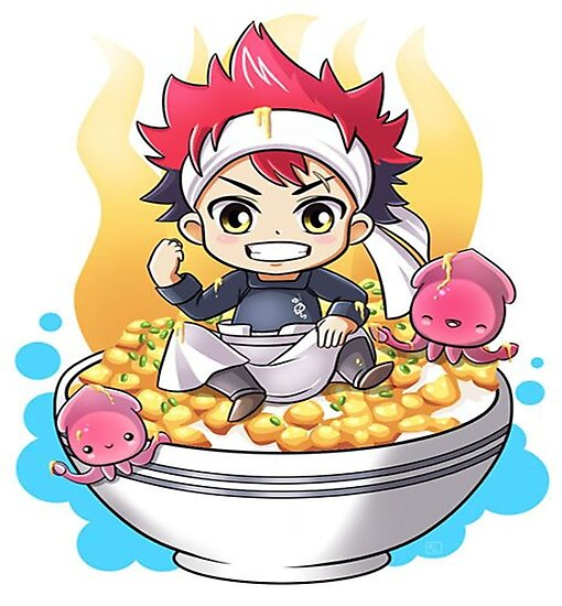 Food Wars Soma In Chibi Bowl Photographic Print By Queenprisme